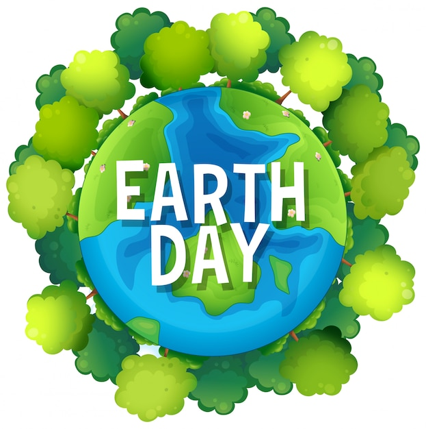 Earth day poster with trees Free Vector