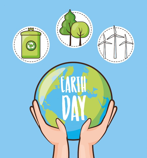 Earth day, set of icons with recycle can, trees and planet, illustration Free Vector