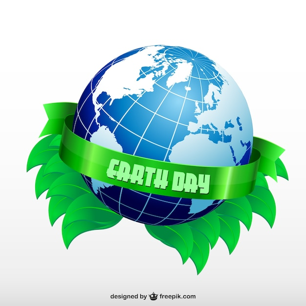 Earth day with a planet and green leaves Free Vector