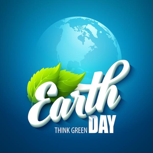 アースデー。言葉、惑星、緑の葉で 無料ベクター