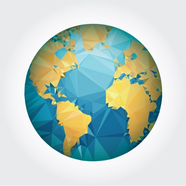Earth design made of polygons Free Vector