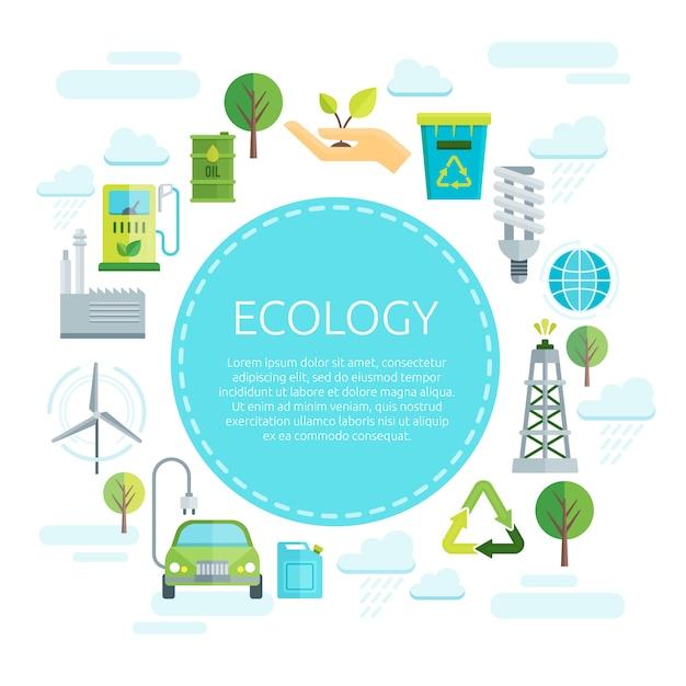 地球生態学デザイン 無料ベクター
