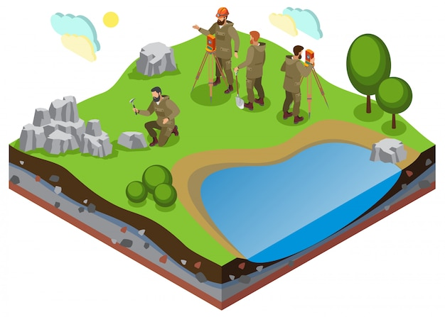 Earth exploration isometric composition with prospecting work on terrain with pond and rock formations Free Vector