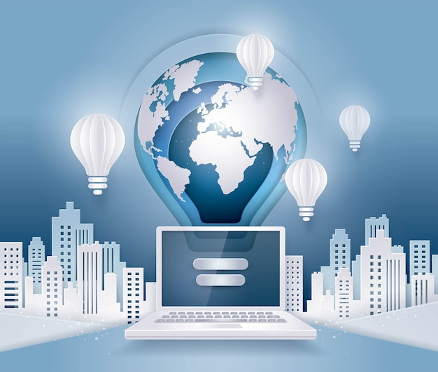 Earth floating above laptop computer, business concept of global internet communication Premium Vector