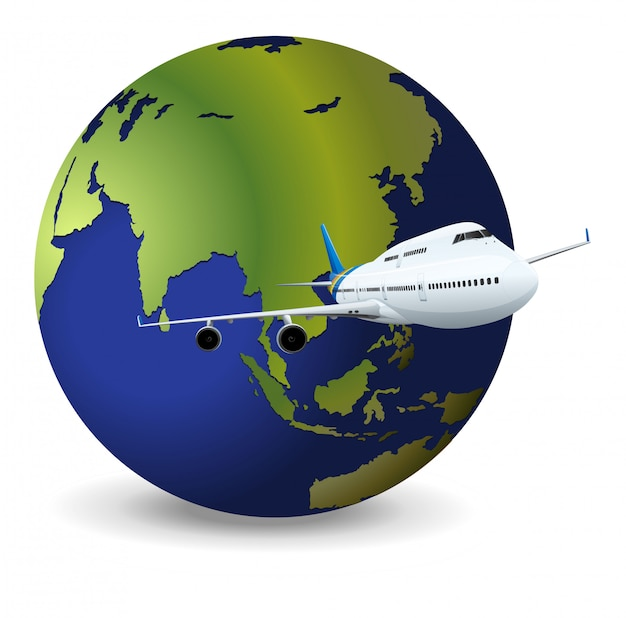 Earth globe and airplane Free Vector