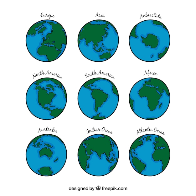 Earth globe collection Free Vector