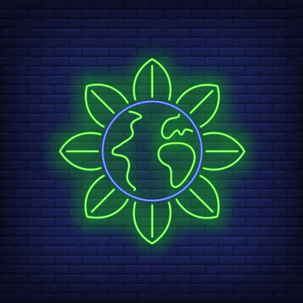 Earth globe flower metaphor neon sign. Free Vector