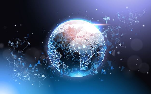 Earth globe futuristic low poly mesh wireframe on blue background global network concept Premium Vector