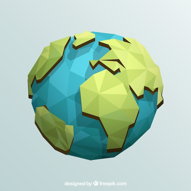 Earth globe in geometric design Free Vector