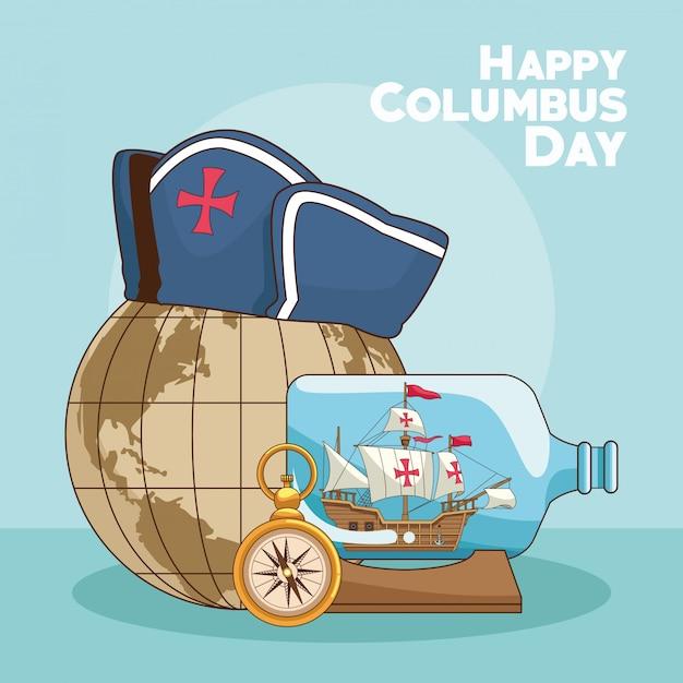 Earth globe and happy columbus day design Premium Vector