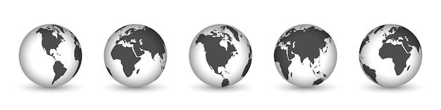 Иконки земного шара с разных континентов Premium векторы