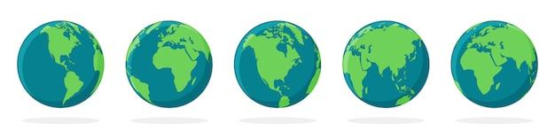 Иконки земного шара с разными континентами Premium векторы