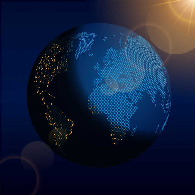 Earth globe at night in the space Vector | Free Download