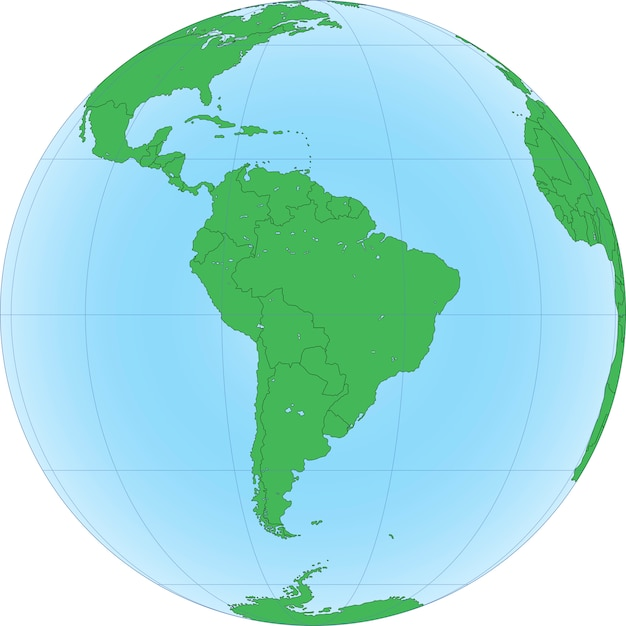 Earth globe with focused on south america Premium Vector