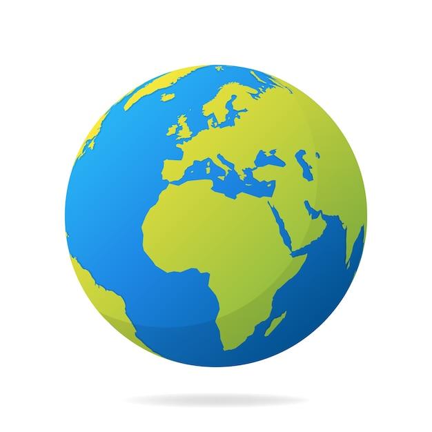 緑の大陸を持つ地球。現代の世界地図のコンセプト。世界地図のリアルな青いボールのイラスト。 Premiumベクター