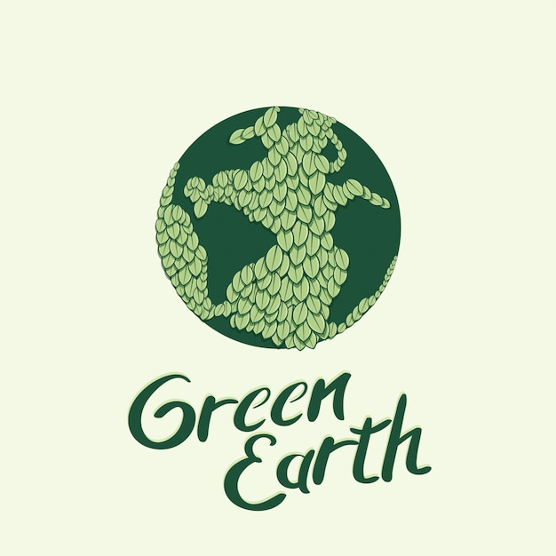 Earth globe wrapped with green leaves vector illustration Premium Vector