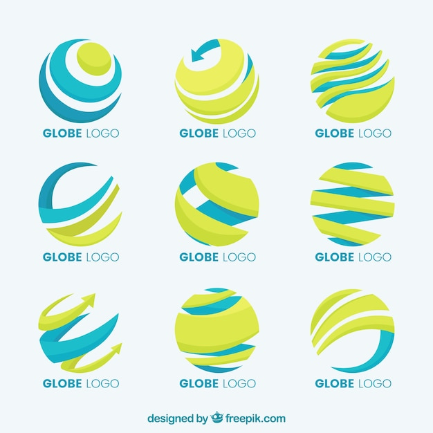 Earth globe yellow and blue logo collection Free Vector