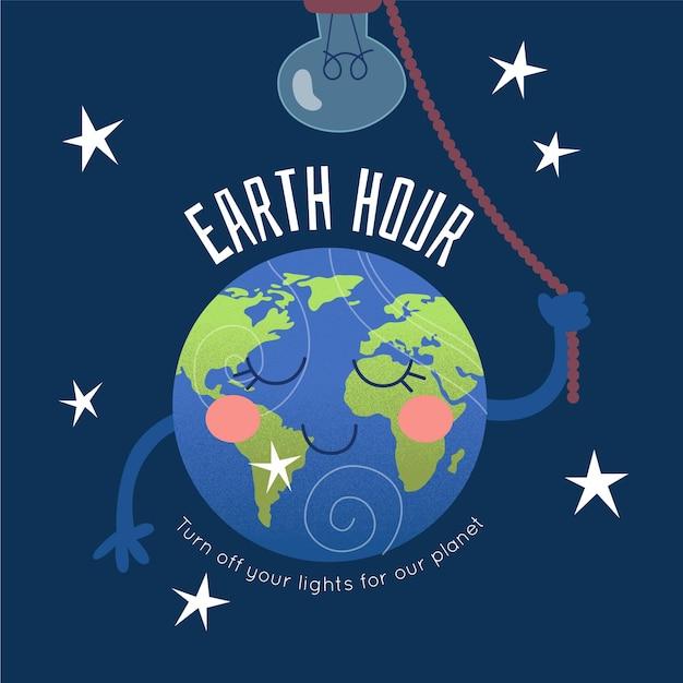 惑星と電球のアースアワーのイラスト 無料ベクター