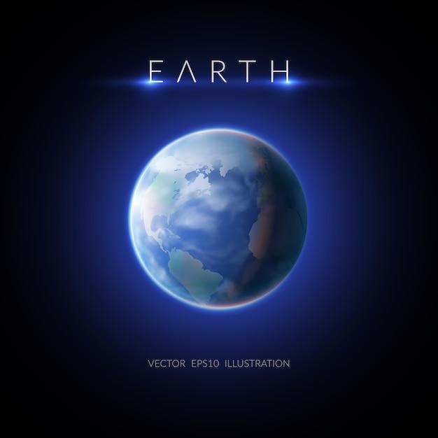 Earth image with description on dark flat illustration Free Vector