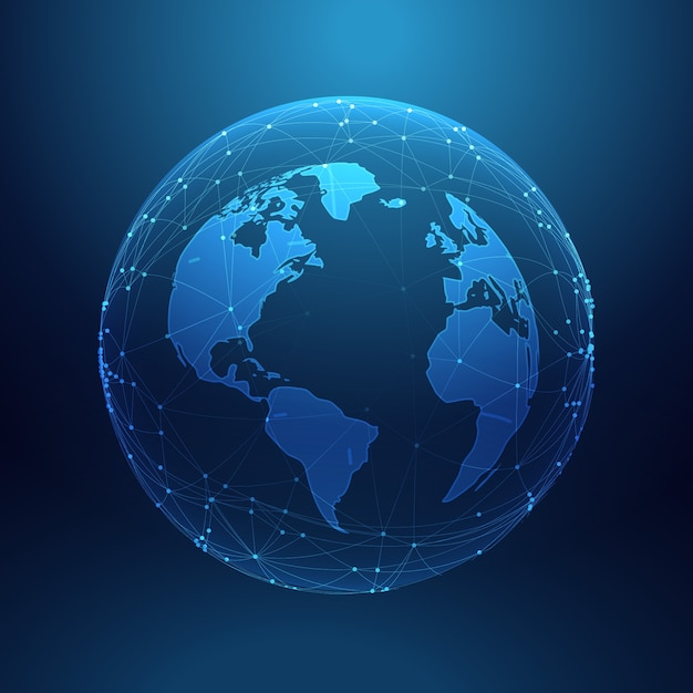 World map blue template vector free download earth inside network lines sciox Choice Image