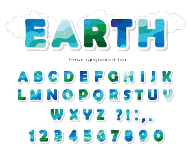 Earth landscape modern font Premium Vector