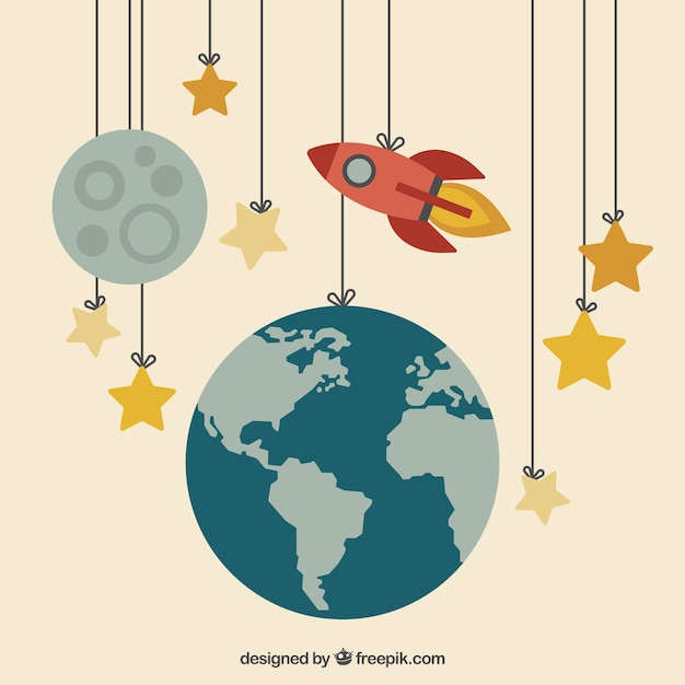 Earth, moon and a rocket hanging on the ropes Free Vector