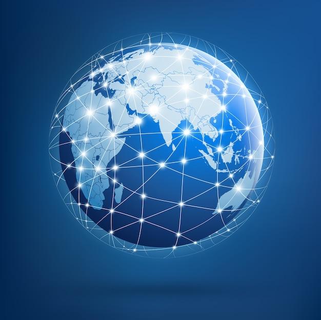 Земля глобальных сетей Premium векторы