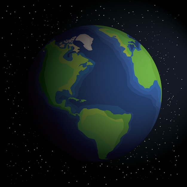 Earth in outer space. earth on the space with stars. earth with shadow. planet in universe, stock vector. Premium Vector