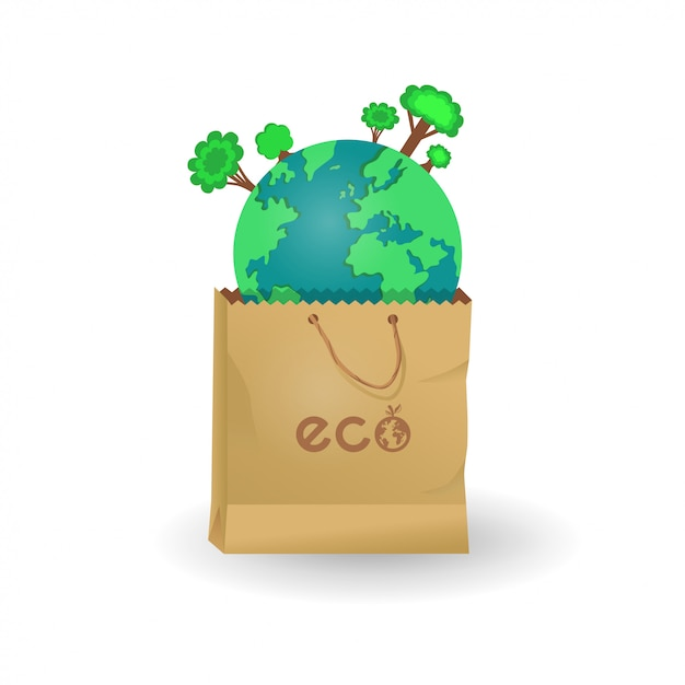 Earth in paper and plastic bags Premium Vector