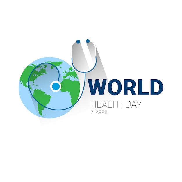 Earth planet stethoscope health world day global holiday banner with copy space Premium Vector