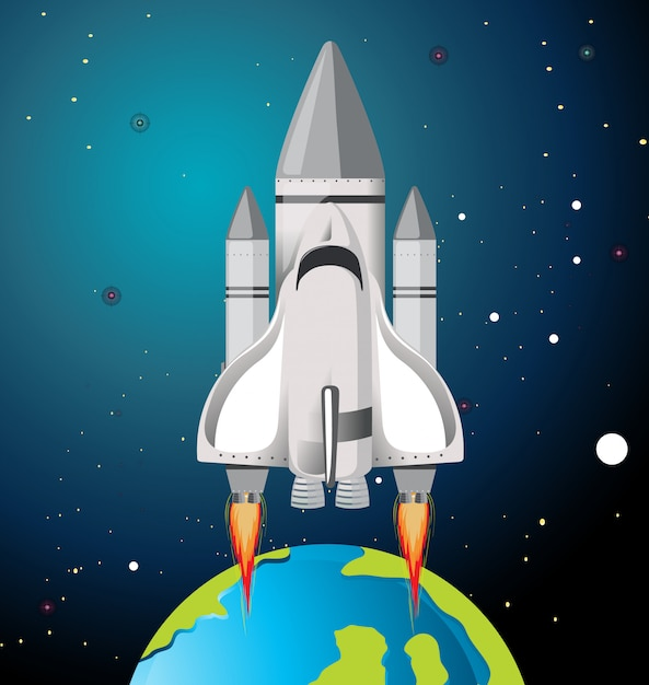 Earth and rocket scene Free Vector