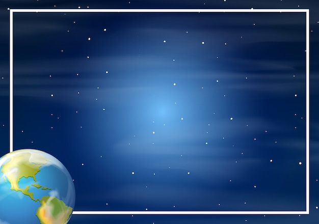 Earth in space border Free Vector