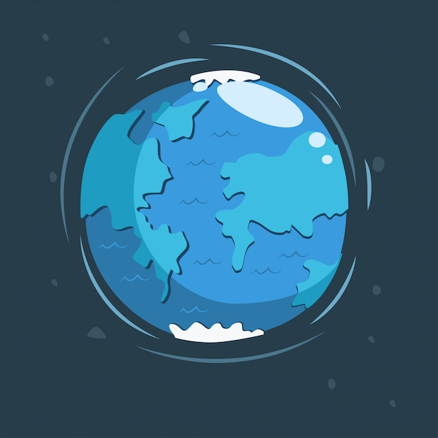 Earth in space cartoon illustration. Premium Vector