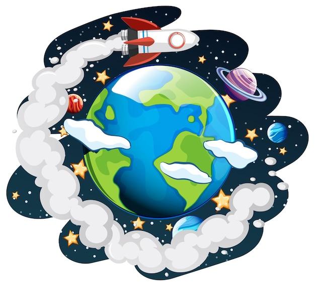 La terra sul tema della galassia spaziale Vettore gratuito