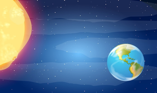 Earth and sun in the space Free Vector
