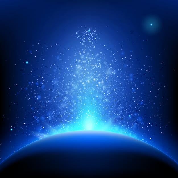 지구-깊고 푸른 공간에서 일출입니다. 프리미엄 벡터