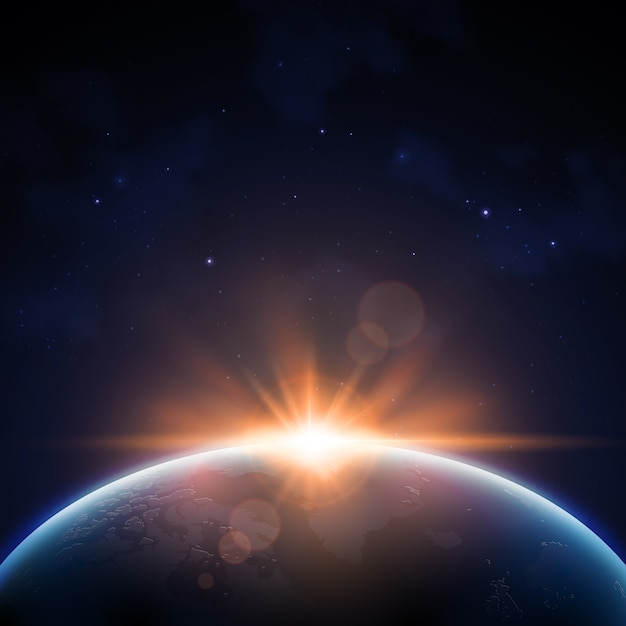 Earth sunrise light effect Free Vector