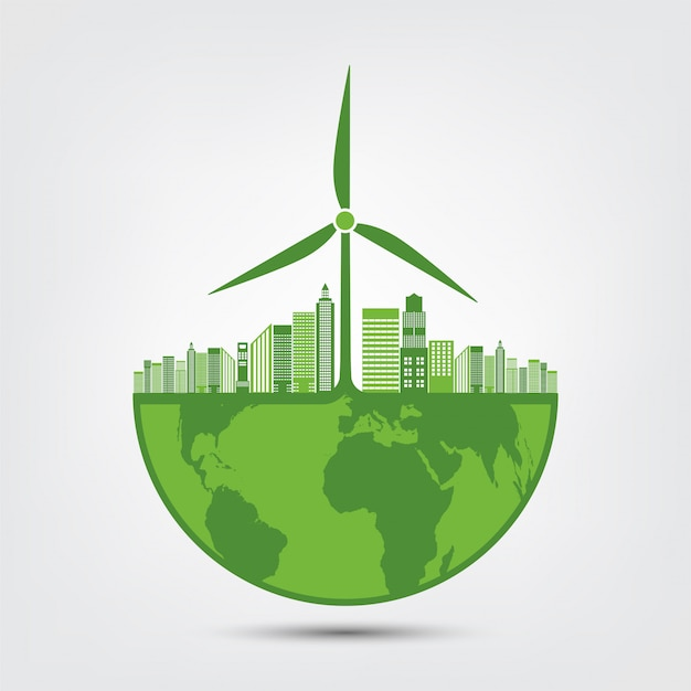 Earth symbol with green leaves around cities help the world with eco-friendly ideas Premium Vector