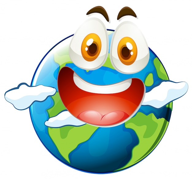 Earth with happy face Free Vector