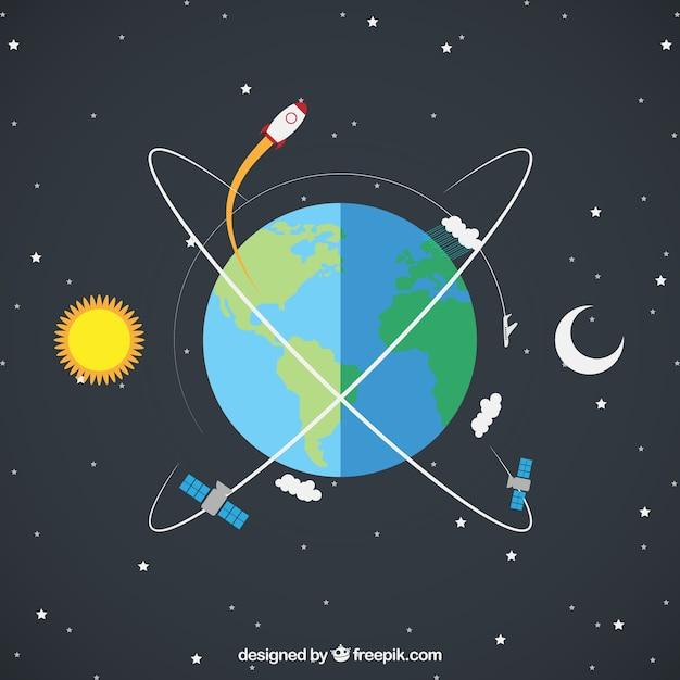 Terra con un razzo e satelliti Vettore gratuito