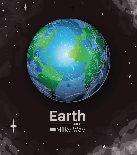 Earth world sphere milky way style icon design Premium Vector