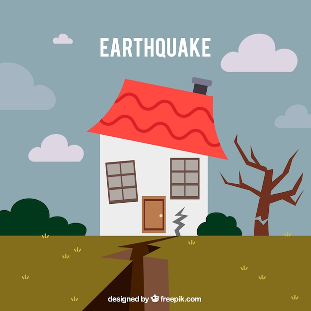 Earthquake design in flat style Free Vector