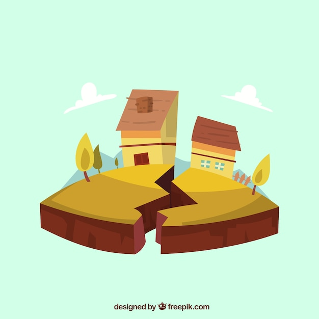 Earthquake design with house Free Vector