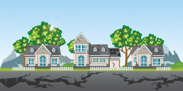 The earthquake destroyed village of houses and street. Premium Vector
