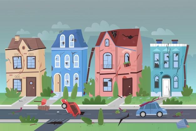 작은 도시 평면 만화 벡터 일러스트 레이 션의 지진 자연 재해 프리미엄 벡터