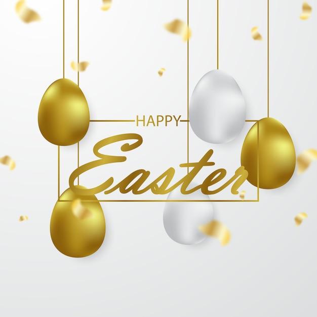 Easter background designed with 3d golden eggs Premium Vector