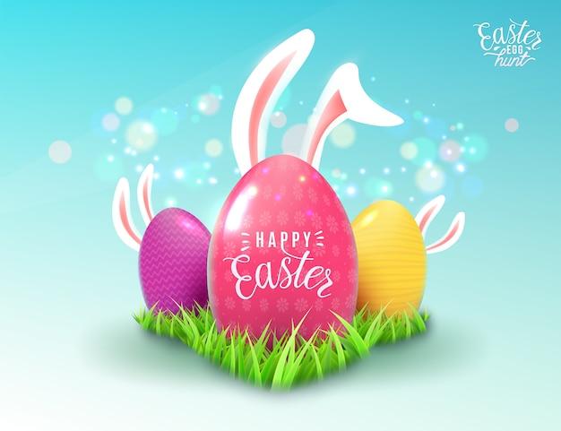 Sfondo di pasqua in stile realistico con erba verde, colore decorare le uova, orecchie del coniglietto di pasqua del fumetto, effetto luce magica isolato Vettore gratuito