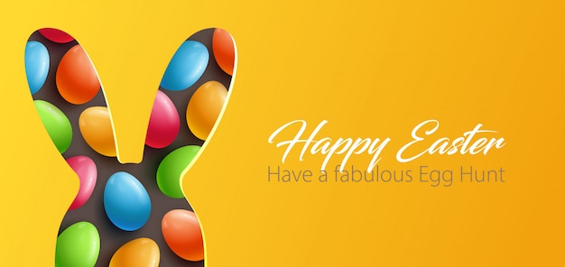 Easter background with paper cut design element Premium Vector
