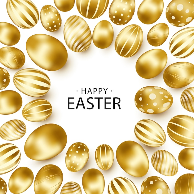 Easter background with realistic golden eggs Premium Vector