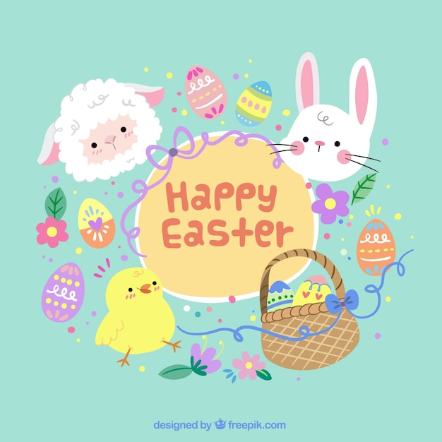 Easter background with traditional objects Free Vector